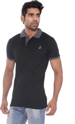 Pezzava Self Design Men's Flap Collar Neck Reversible Black, Grey T-Shirt