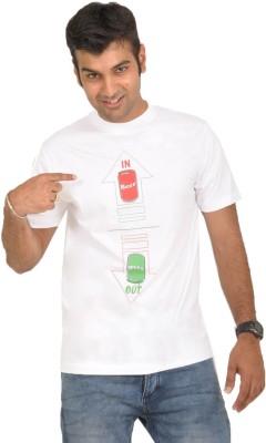 Stallion Cottons Printed Men's Round Neck White T-Shirt