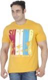ISHWA Graphic Print Men's Round Neck Yel...