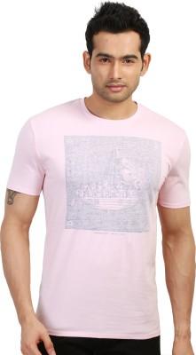 Design Classics Printed Men's Round Neck Pink T-Shirt