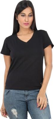 F FASHIONSTYLUS Solid Women's V-neck Black T-Shirt