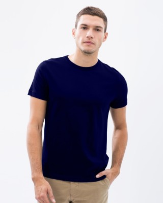 Vogue Solid Men's Round Neck Dark Blue T-Shirt
