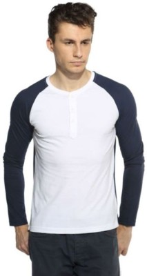 AE Solid Men's Henley White, Dark Blue T-Shirt
