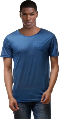 Hemd London Solid Men's Round Neck Blue T-Shirt
