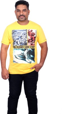 Xmex Graphic Print Men's Round Neck Yellow T-Shirt
