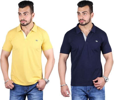 Shineway Solid Men's Polo Neck Gold, Dark Blue T-Shirt