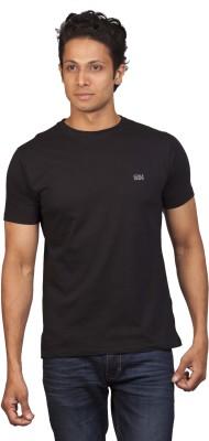 Moxi Solid Men's Round Neck Black T-Shirt