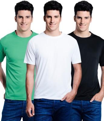 Superjoy Solid Men's Round Neck Black, Green, White T-Shirt