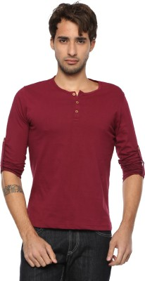 Pepperclub Solid Men's Henley Maroon T-Shirt