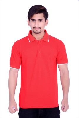 CULT Solid Men's Polo Neck Red T-Shirt