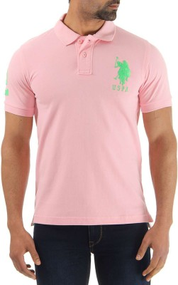 U.S.Polo Association Solid Men's Polo Neck Pink T-Shirt