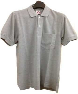 Athlet Solid Men's Flap Collar Neck Grey T-Shirt