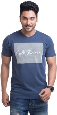 Cult Fiction Printed Men's Round Neck Blue T-Shirt