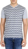Easies Striped Men's V-neck Grey T-Shirt