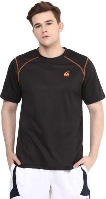Aurro Solid Men's Round Neck Black T-Shirt