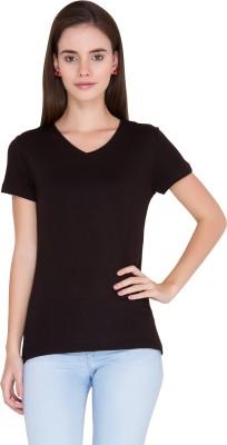 Alibi Solid Women's V-neck Black T-Shirt