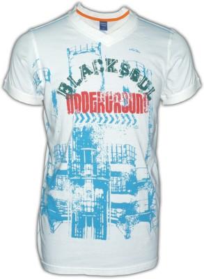 Blacksoul Printed Men's V-neck White T-Shirt