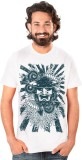 Neevov Printed Men's Round Neck White T-...
