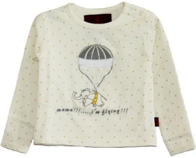 My Little Lambs Polka Print Girls Round Neck White T-Shirt