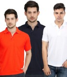 UNO Cotton Solid Men's Polo Neck Multico...
