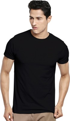 Kavit Hub Solid Men,s Round Neck Black T-Shirt