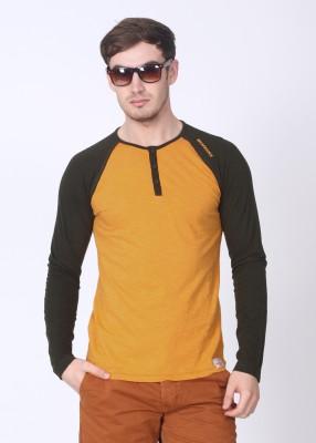 Breakbounce Solid Men's Henley Orange, Green T-Shirt