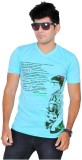 A1 Tees Printed Men's Round Neck Blue T-...