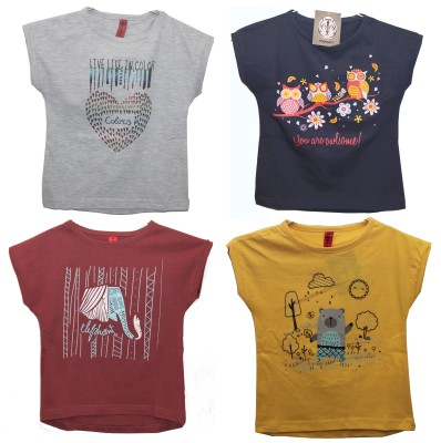 hussky Solid Girl's Round Neck Multicolor T-Shirt