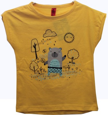 Hussky Casual Cap sleeve Printed Girl's Yellow Top