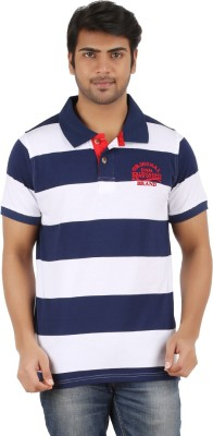 Raw Breeze Striped Men's Polo Neck T-Shirt
