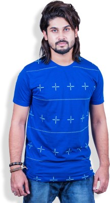 Mime Printed Men's Round Neck Blue T-Shirt