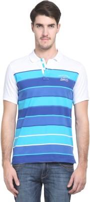 Kingswood Striped Men's Polo Neck White T-Shirt