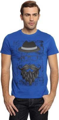 SharkTribe Printed, Graphic Print Men's Round Neck Blue T-Shirt