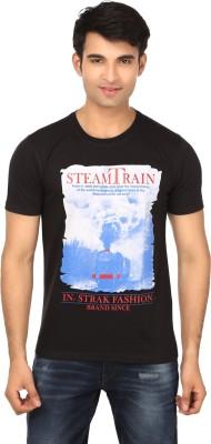 Strak Printed Men's Round Neck Black T-Shirt