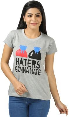 Shopdayz Printed Women's Round Neck Grey T-Shirt