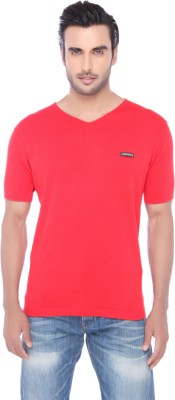 Springfield Solid Men's V-neck Red T-Shirt