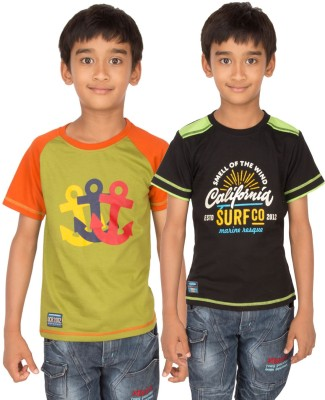 Ocean Race Graphic Print Boy's Round Neck Green, Black T-Shirt