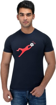 Surly Printed Men's Round Neck Blue, Red T-Shirt