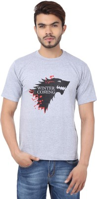 Weardo Printed Men's Round Neck Grey T-Shirt