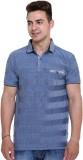 Unex Striped Men's Flap Collar Neck Blue...