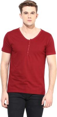 Benoit Solid Men's V-neck Maroon T-Shirt