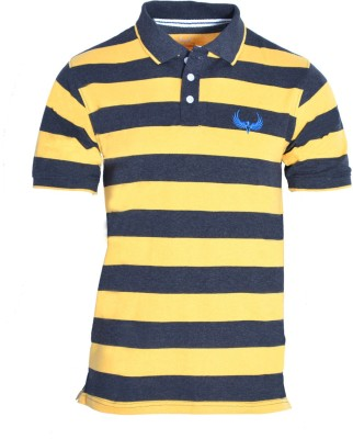 Avenster Sport Striped Men's Polo Neck Yellow, Black T-Shirt