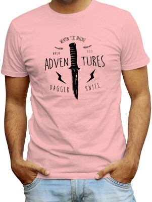 Redfool Fashions Graphic Print, Printed Men's Round Neck Pink T-Shirt