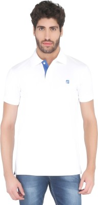 Floe Solid Men's Polo Neck White T-Shirt