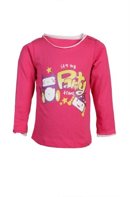 Karrot by Shoppers Stop Printed Baby Girl,s Round Neck Pink T-Shirt