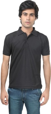 Trendy Trotters Solid Men's Polo Black T-Shirt