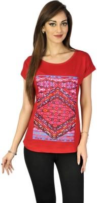 Go-Art Printed Women,s Round Neck Pink T-Shirt