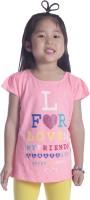 Sera Graphic Print Girls Round Neck Pink T-Shirt