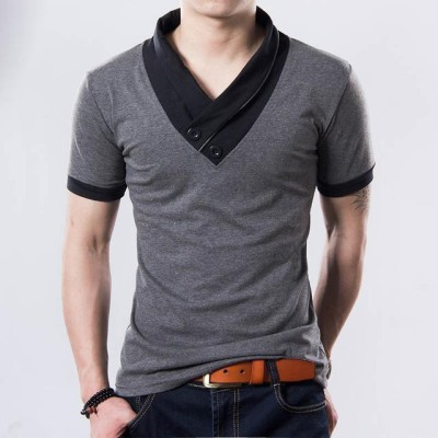 Style-Up.In Solid Men's V-neck Grey T-Shirt