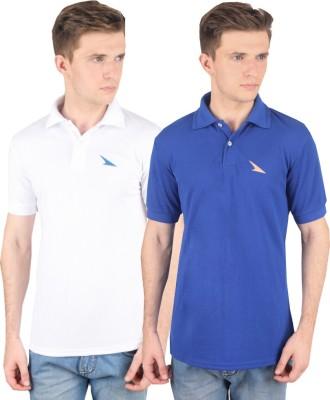 PRO Lapes Solid Men's Polo Neck White, Blue T-Shirt